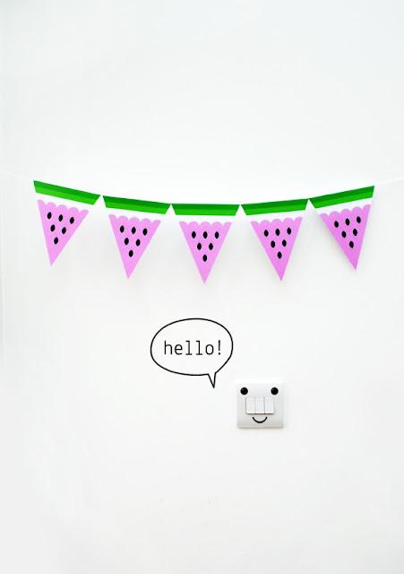 Bandeirinhas de melancia para decorar festas