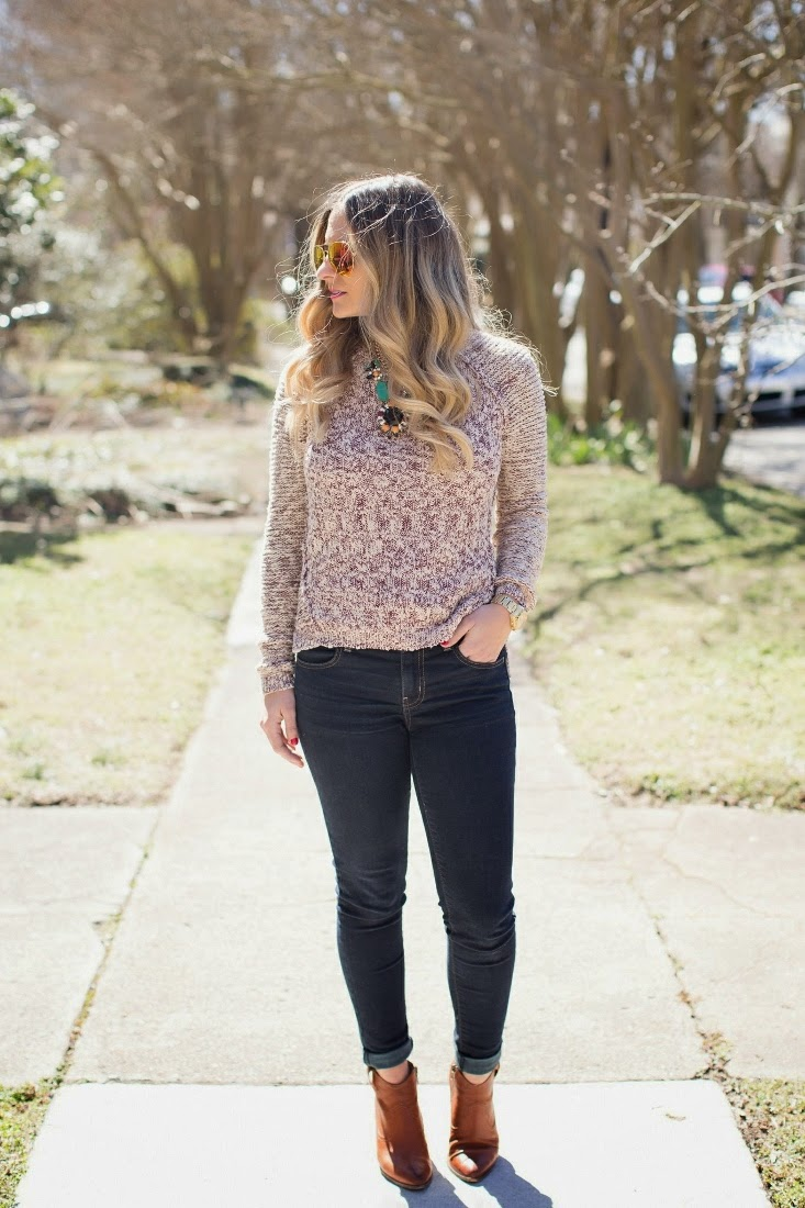Frye Ankle Boots with Forever 21 Crewneck Sweater