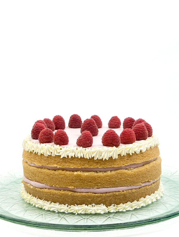 Naked raspberry cake front