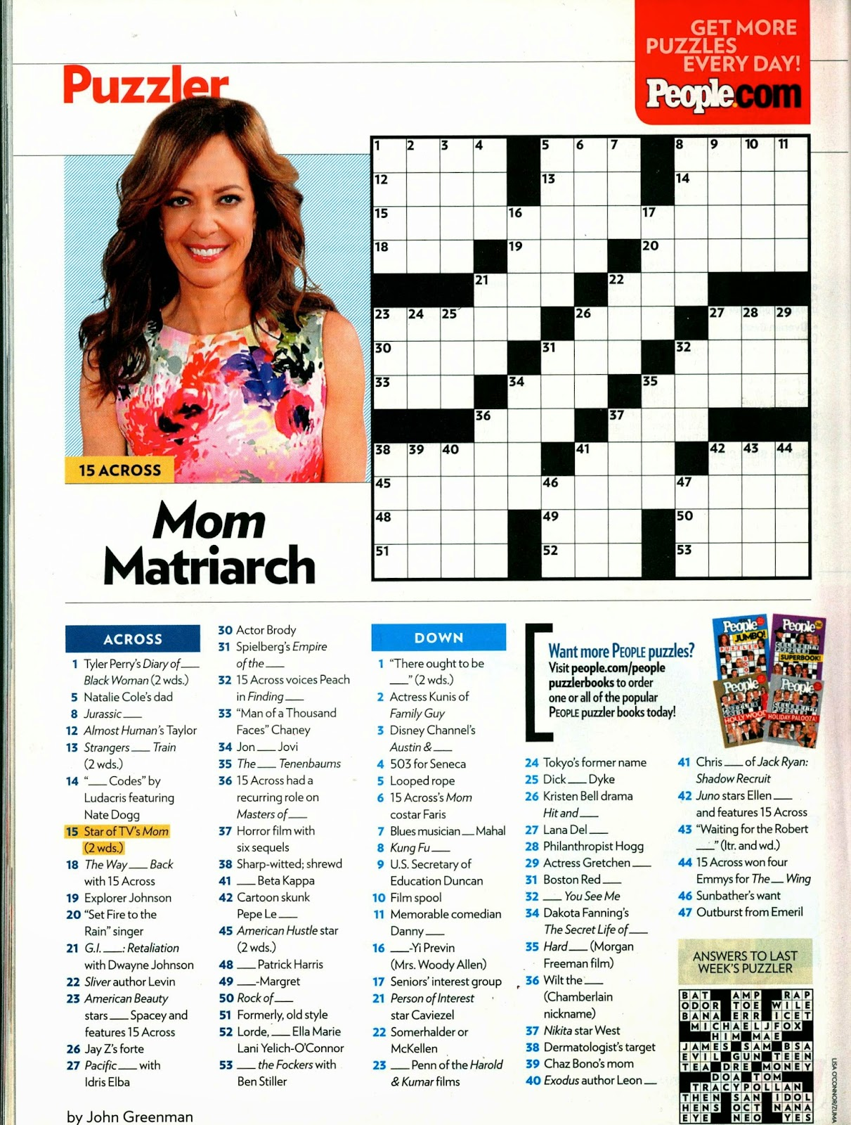 picture about Star Magazine Crossword Puzzles Printable referred to as The moment Generate Is Mistaken: Down for the Rely