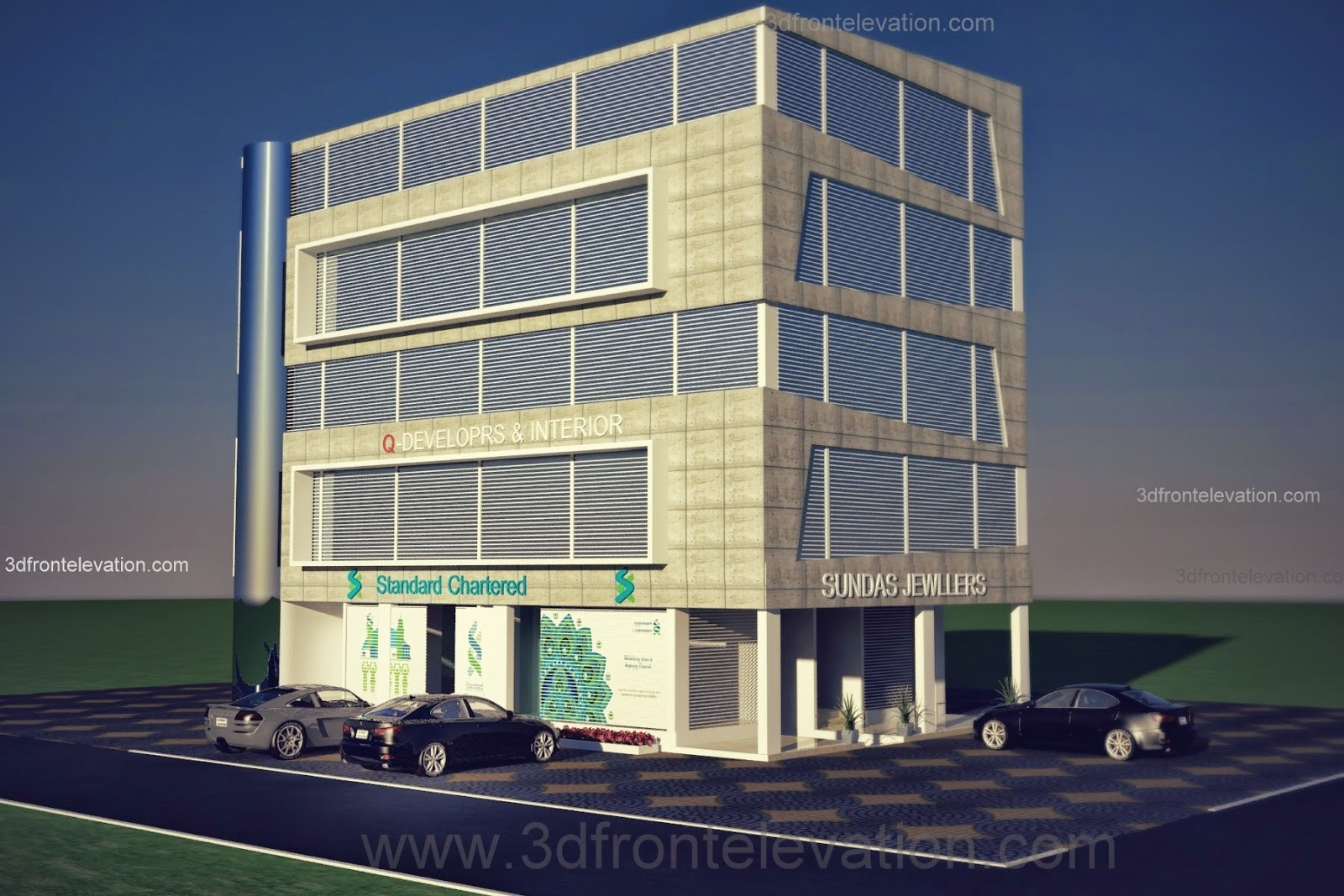 3d Front Elevation Of Commercial Building : D front elevation corner commercial plaza offices