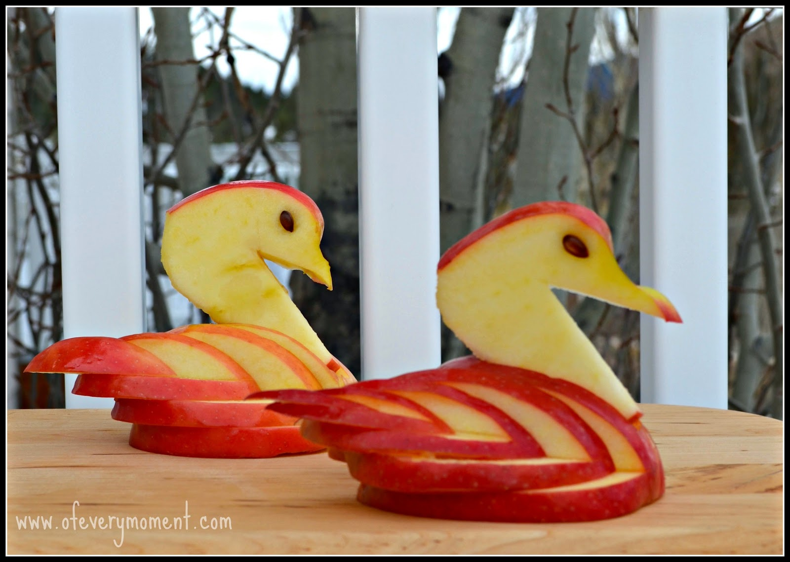 apple carving, swan art