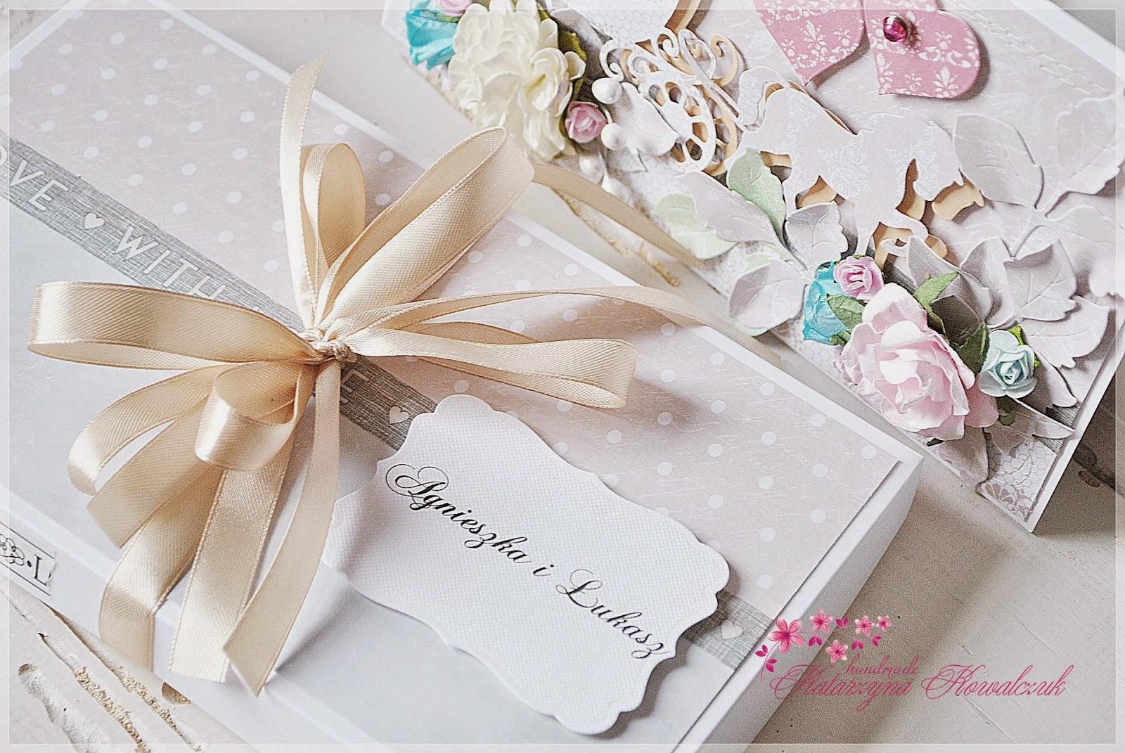 kartka ślubna z karocą scrapbooking cottage cutz