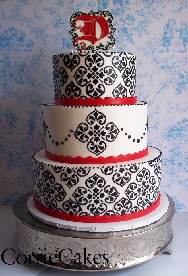 Wedding Cakes Pictures: White, Black and Red Damask Cake