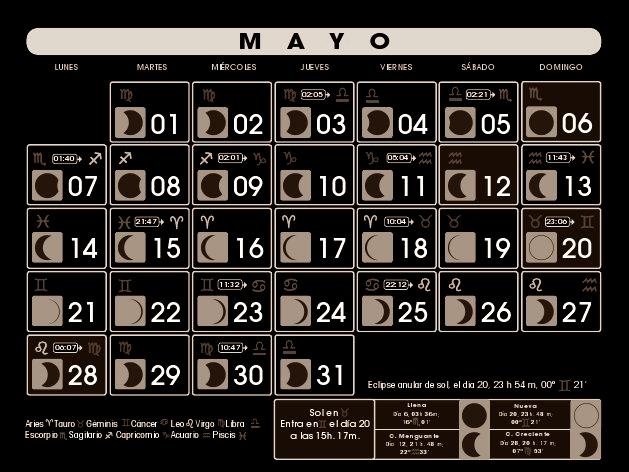 Tarot de la zarina calendario lunar para mayo de 2012 for Calendario lunar mayo