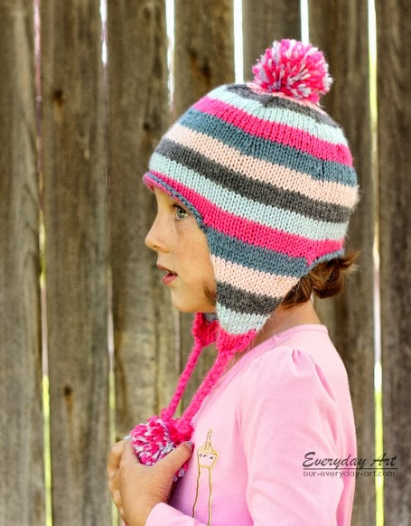 Knitting Pattern Baby Hat With Ear Flaps : Everyday Art: Childrens Knit Ear Flap Hat Pattern