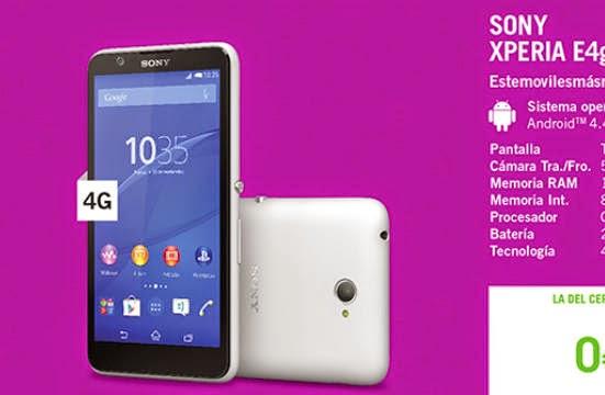 Sony Xperia E4G gratis con Yoigo