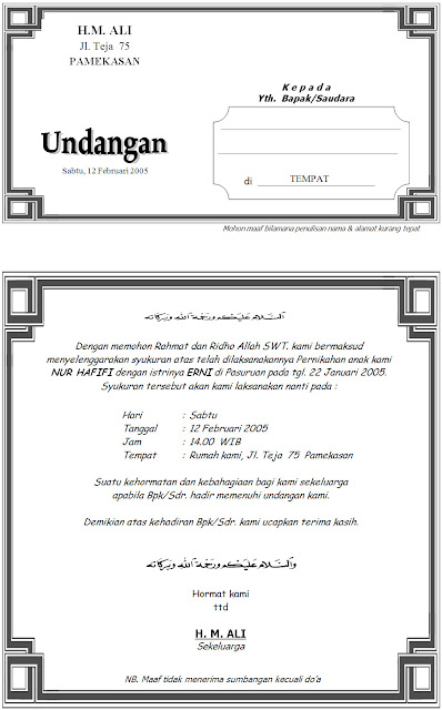 Download Contoh Desain Undangan Syukuran Pernikahan