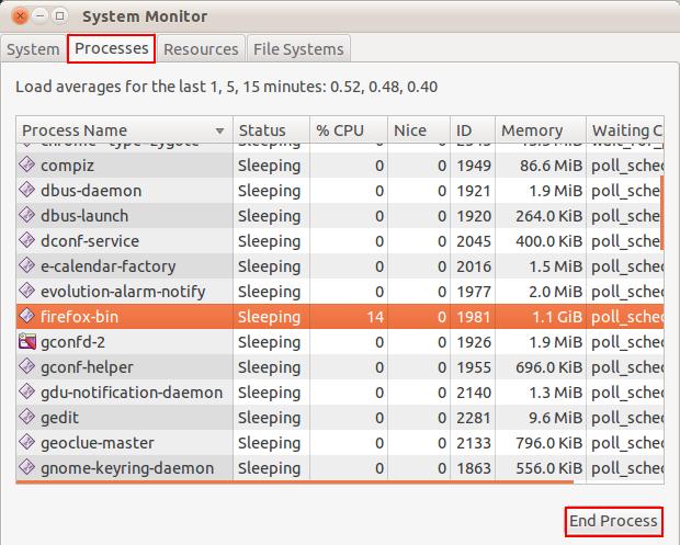 how to kill process ubuntu