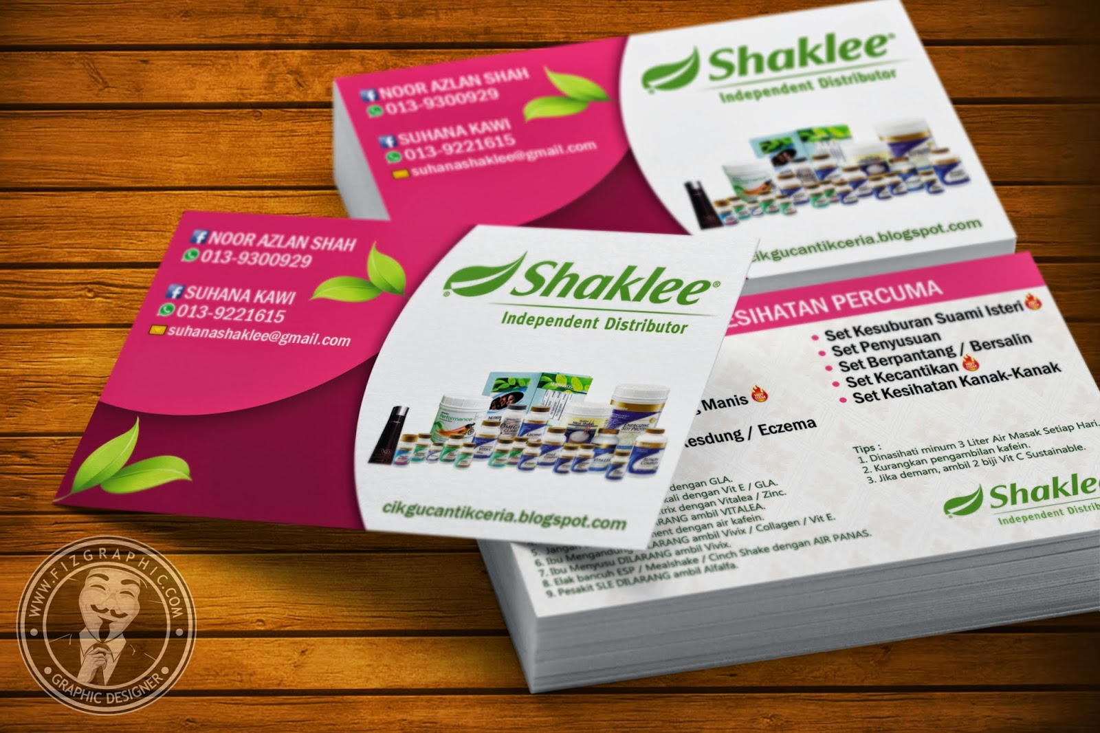 Fizgraphic design printing business card 86 for Shaklee business cards