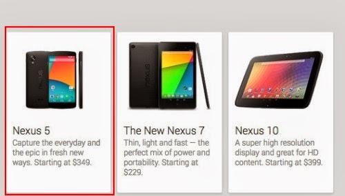 Per poco tempo è comparso sul sito ufficiale Play Store di Google la foto e il prezzo del Nexus 5 in dollari americani