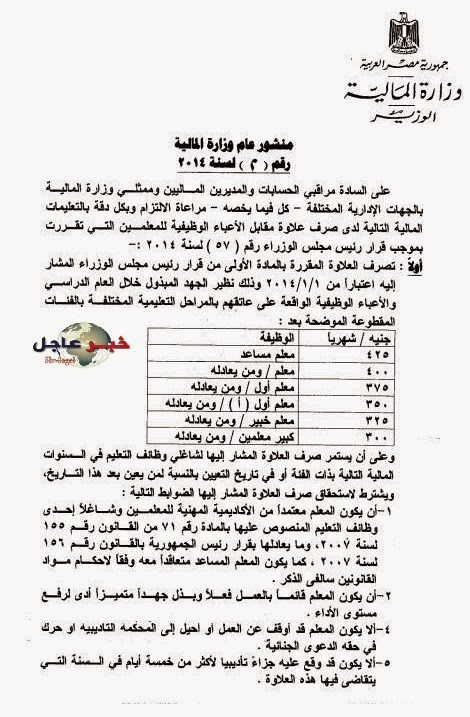ننشر قرار .. وزارة المالية ومجلس الوزراء لصرف علاوة الاعباء الوظيفة لجميع المعلمين