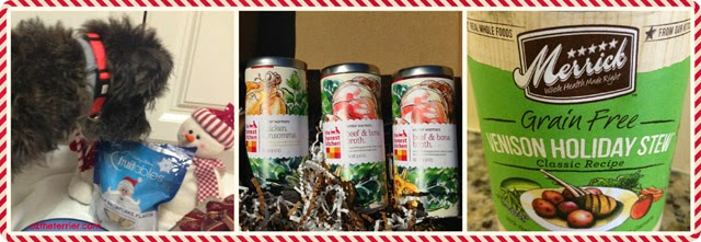 Holiday Gift Guide for Dogs: Fruitables Snowflakes, The Honest Kitchen Winter Warmers, Merrick Holiday Stews