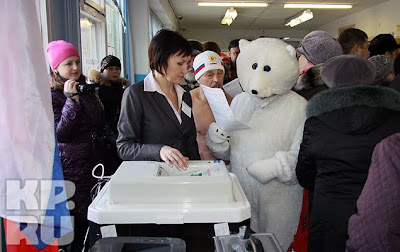guy in Barnaul casting his vote dressed like a polar bear