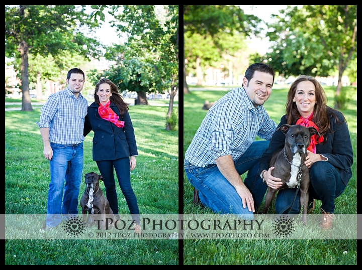 Engagement photo with their pitbull in Riverside Park