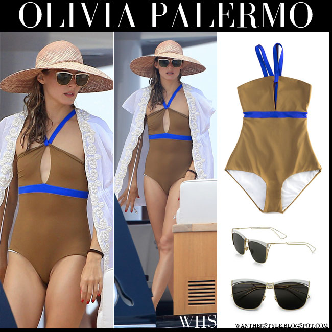 Olivia Palermo in khaki one piece le sirenuse marcele swimsuit with bright blue details, straw hat and dior so electric sunglasses what she wore summer july 27