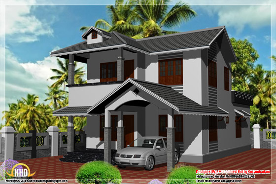 3 bedroom, 1800 sq.ft. Kerala style house