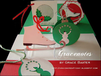 Christmas tags: red, white, green. Designed by Grace Baxter