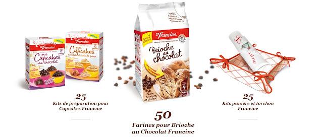 25 kits panière et torchon Francine + 25 kits de préparation Mes cupcakes + 50 sachets de farine Brioche au chocolat