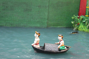 During the water puppet show