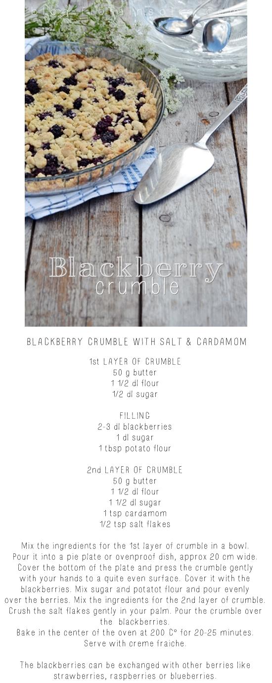 blackberry recipe, recipe blackberry crumble, blackberry crumble,  Delicious Blackberry Crumble with Salt and Cardamon,  Blackberry Crumble with Salt and Cardamon, recipe  Blackberry Crumble Salt  Cardamon