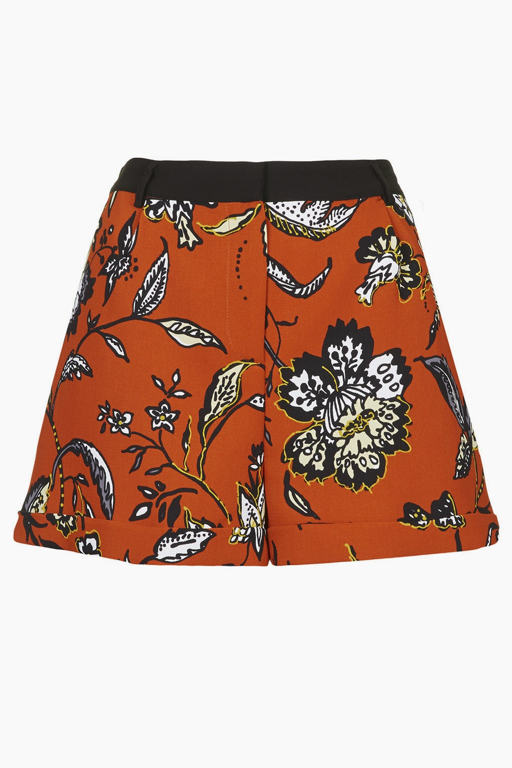 orange flower shorts