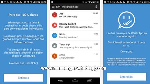 Evita el doble check azul cuando lees mensajes con Shh para WhatsApp