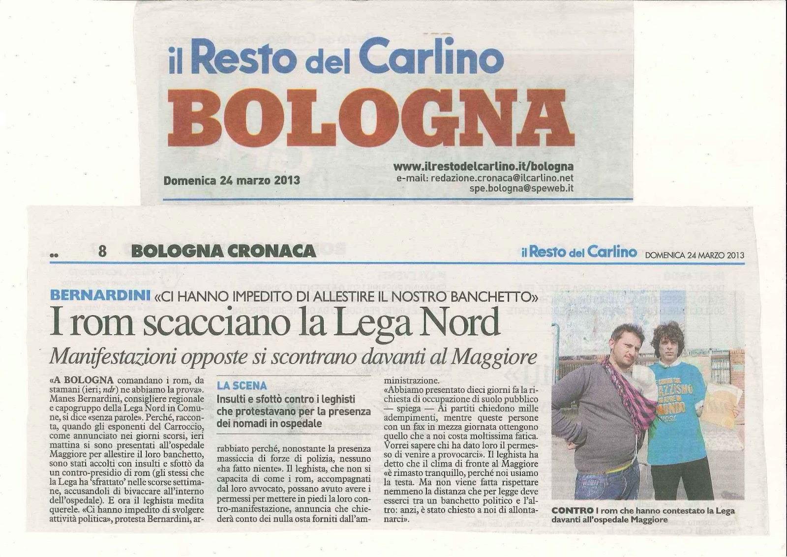 nazione rom rom comune di bologna lega nord e pdl tra