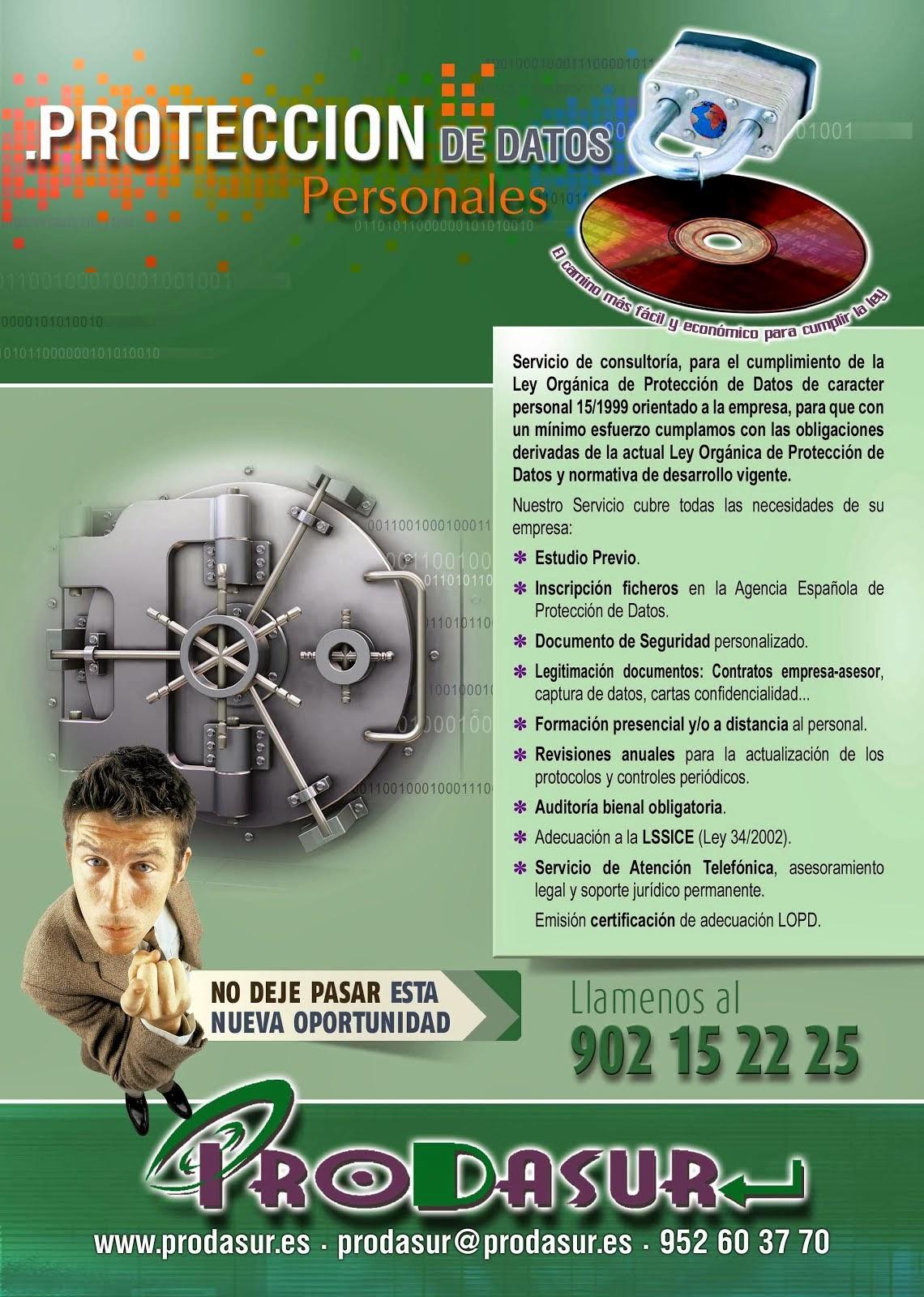 Ofertas especiales Adaptación a la LOPD hasta 31/12/2016. Llámanos.