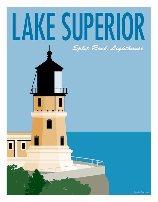 Split Rock Lighthouse Lake Superior - MN Roadside Attraction Travel Poster