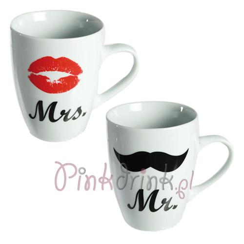 Kubki i kieliszki Mr. & Mrs. z ustami i wąsami - świetny pomysł na prezent na wieczór panieński!