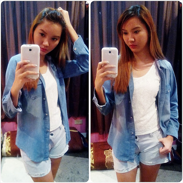 fashion outfit look lookbook denim attire coordinate blue selca selfie