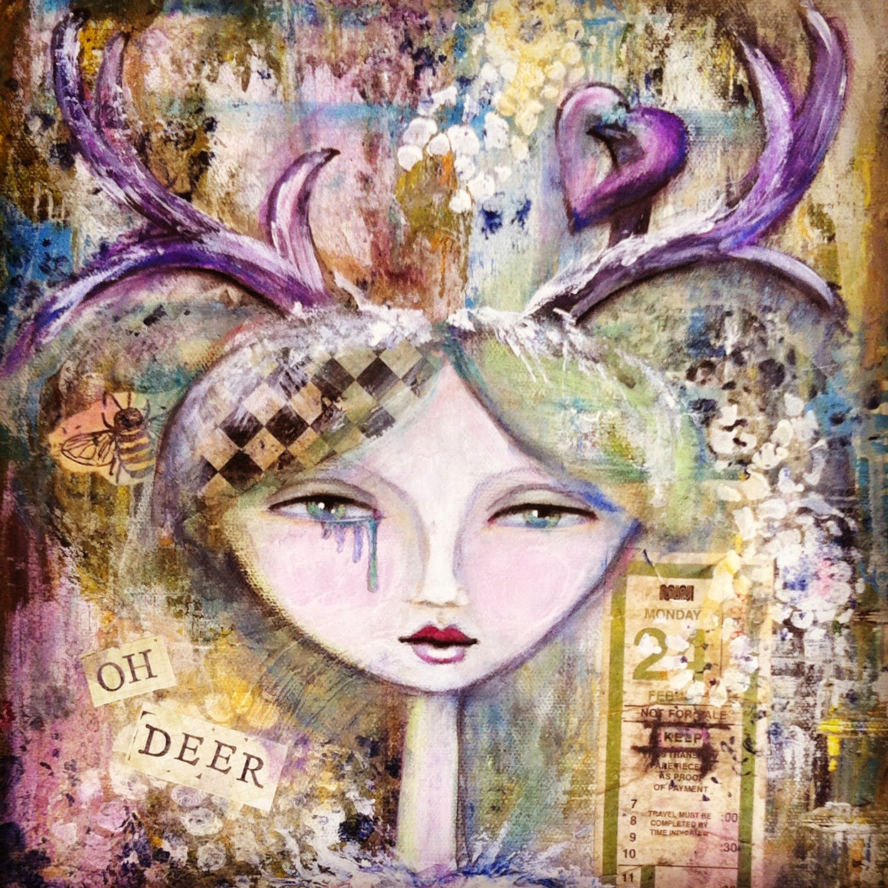 Mixed media girl with antlers and pierced heart