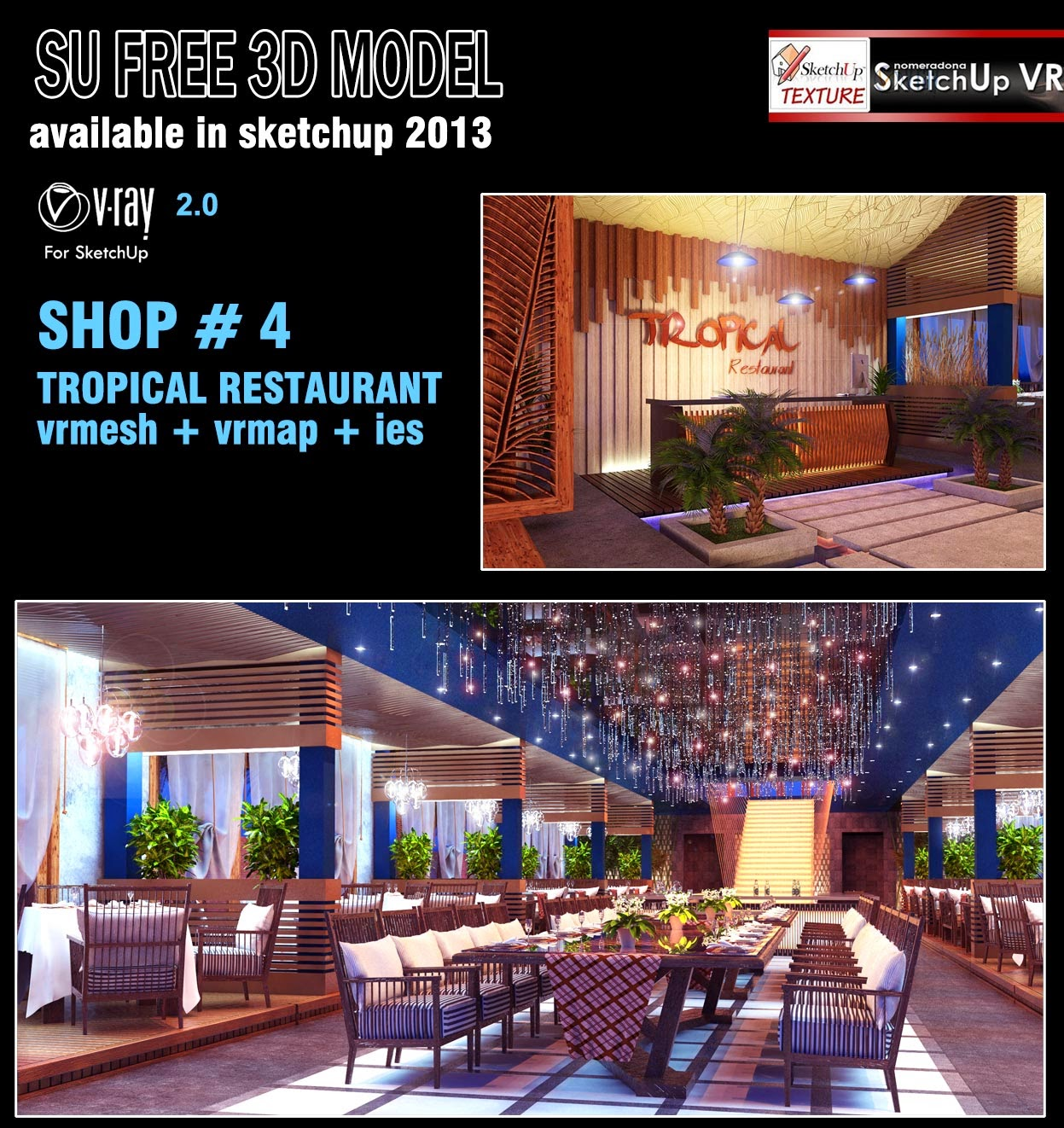 sketchup texture: sketchup free 3d model tropical restaurant - shop #4