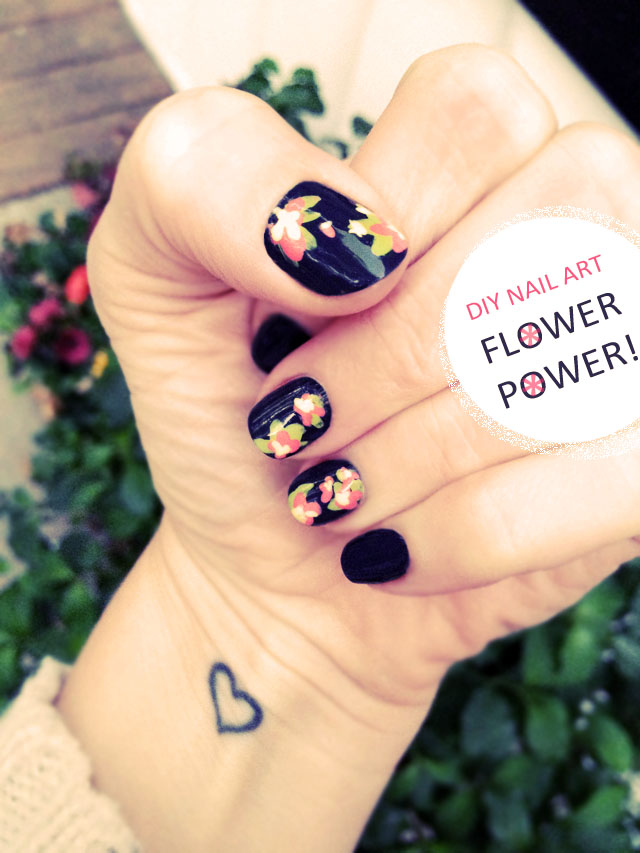 Diy floral nail art hand painted flower accent nails love diy flower nail art hand painted accent nails prinsesfo Image collections