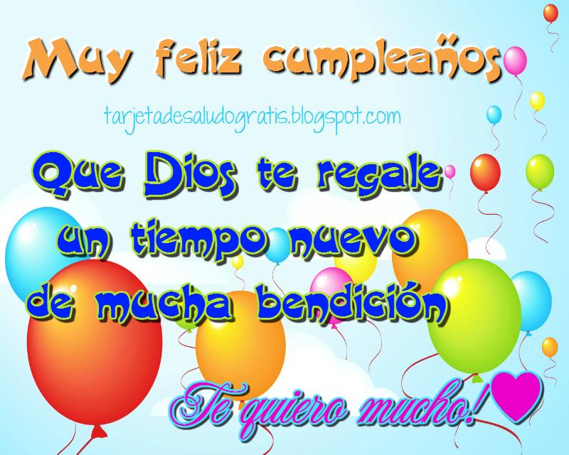 Postal cristiana de feliz cumpleaños con bendicion de Dios