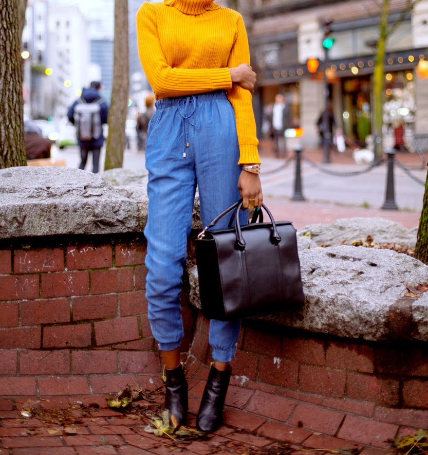 Secrets to Styling Bold Hues || Mustard jumper