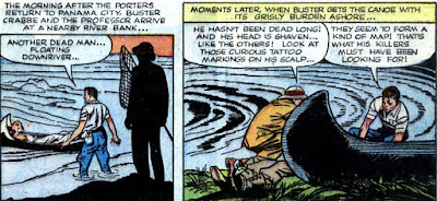 Buster Crabbe 4 panels: Buster finds shaven-headed corpse floating down the river