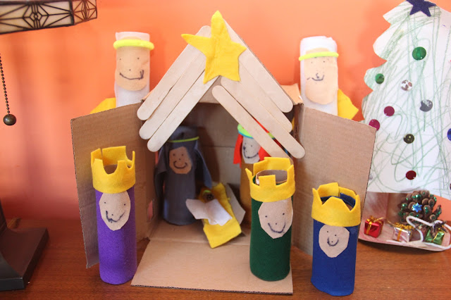 nativity set from recycled boxes and cardboard tubes