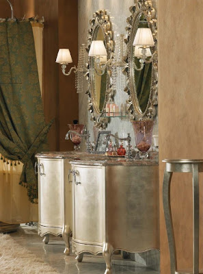 Perfect Classical Bathroom Furniture With Silver Leaf Finish