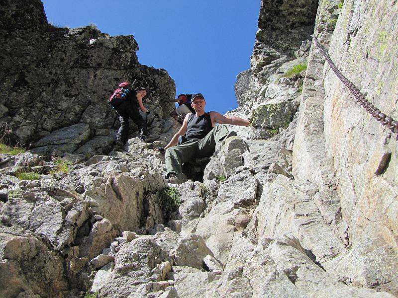 Końcowy odcinek zejścia do najniższego punktu Orlej Perci.