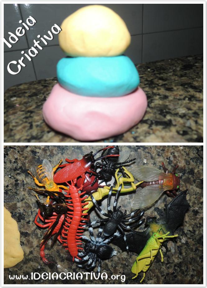 Atividade com Massinha de Modelar e Miniaturas de Animais
