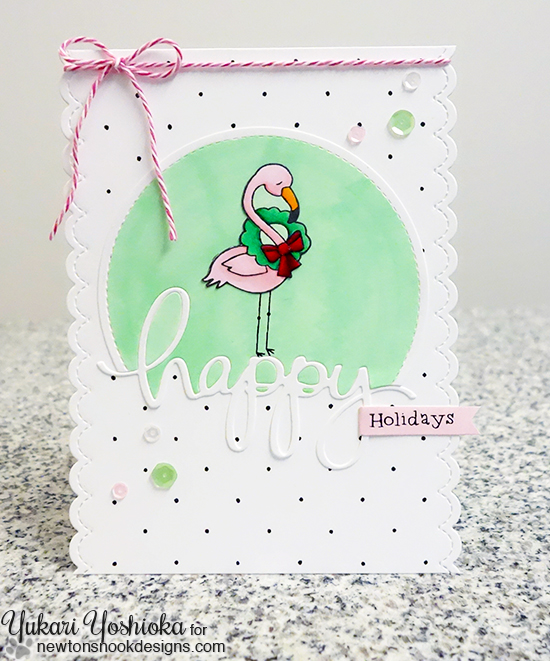 Pink Flamingo Christmas Card by Yukari Yoshioka | Flirty Flamingos stamp set by Newton's Nook Designs #newtonsnook #flamingo