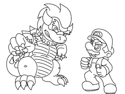 Mario vs Bowser Coloring Pages