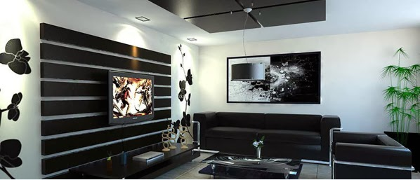 D coration salon en noir et blanc d coration salon - Decoration salon moderne blanc ...