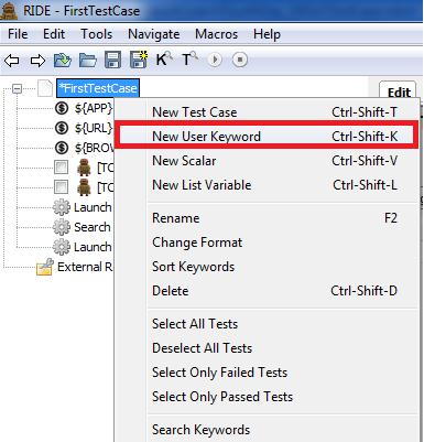 Add user keywords in RIDE