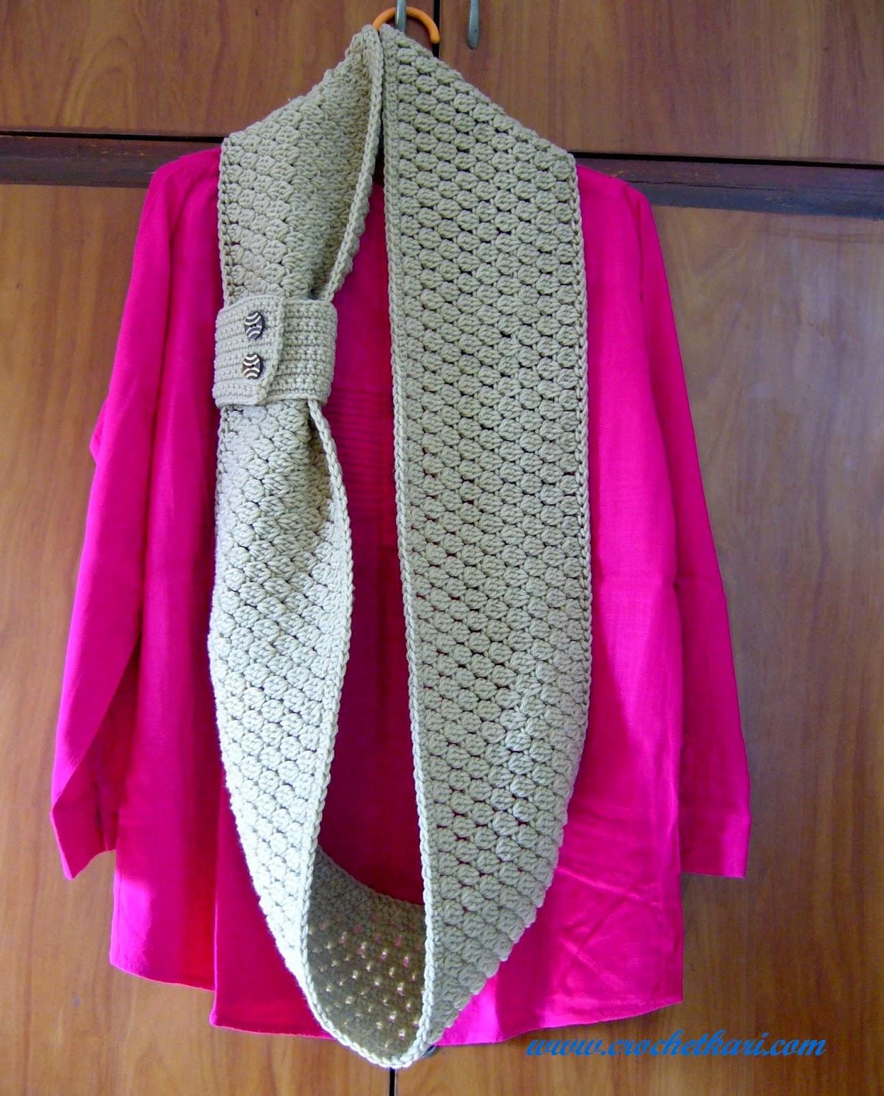 Crochet Cluster stitch cuffed infinity scarf