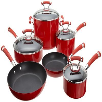 circulon contempo red dishwasher safe nonstick 10piece cookware set 1