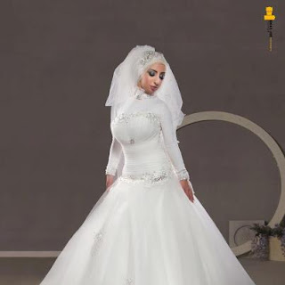 فساتين افراح محجبات 2013 ابيض واف وايت