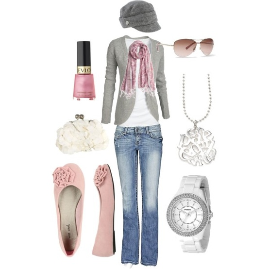 Pink and Grey Beach Fashion